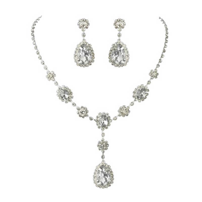 Berlapis Perak Teardop Desain Penuh CZ Crystal Pernikahan Bridal Perhiasan Rhinestone Set Lapisan Kalung & Anting-Anting Aksesoris Wanita