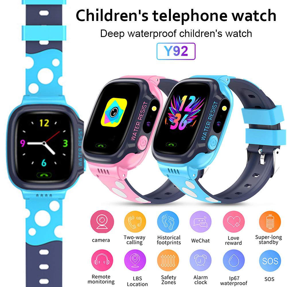 Y92 Children's Smart Watch 1.44 Inch Screen Smart Watch WiFi Positioning GPS IP67 Waterproof Photo Music Call Watch For Kids