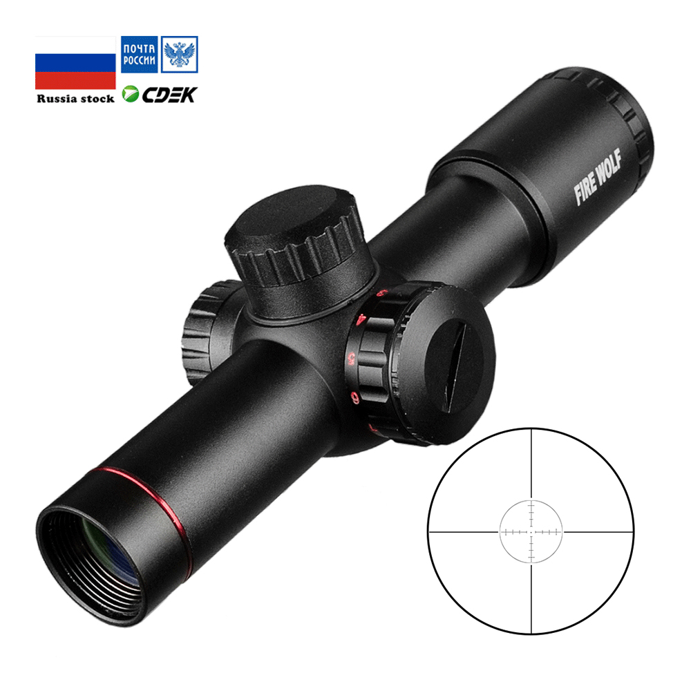 Tactical AK47 AK74 AR15 Hunting Scope 4.5X20 E Red Illumination Mil-Dot Riflescope