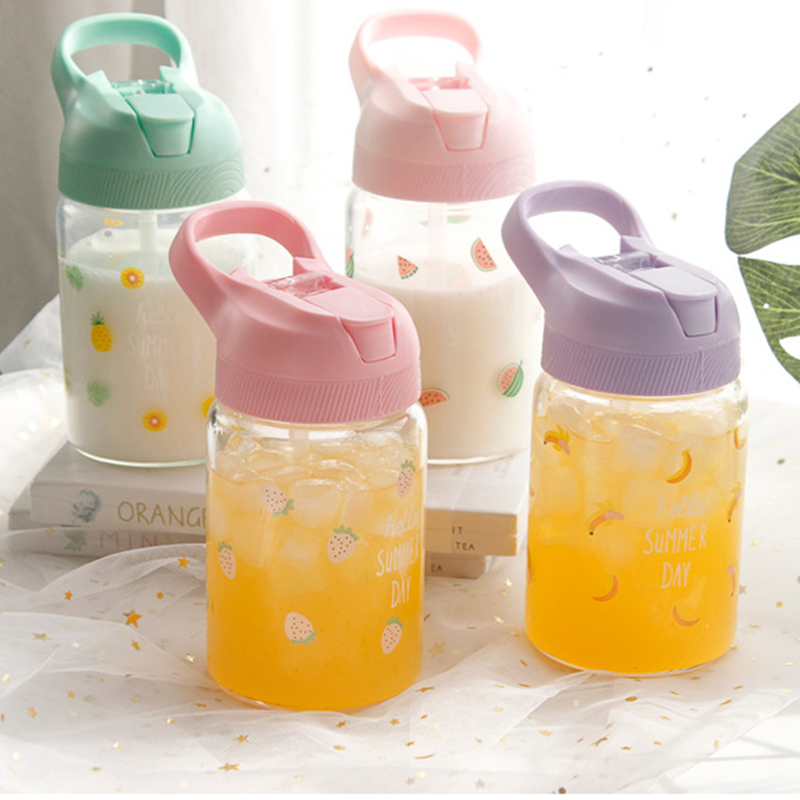 RUIDA Summer Glass Water Bottles Cartoon Fruit pattern Glass cup outdoor travel Portable Water Bottle for Kids Adults Cup Gift in Water Bottles from Home Garden