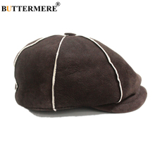BUTTERMERE Men Women Newsboy Cap Wool Real Leather Winter Gatsby Hats for Genuine Sheepskin Brown Brand Octagonal Beret Hat