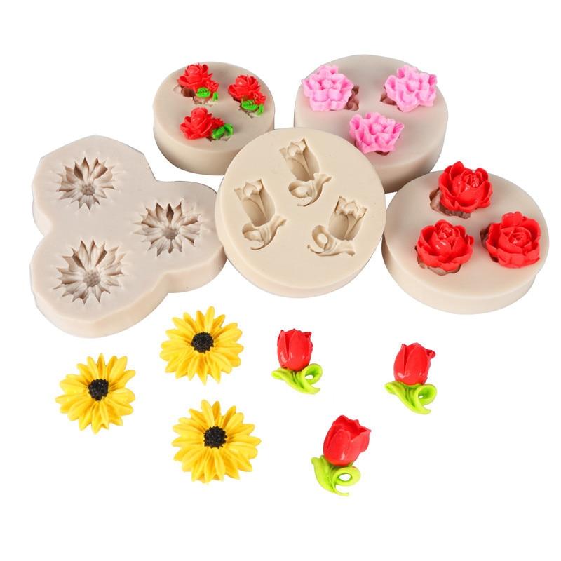 1Pcs 3D Silicone Mold Cake Decoration Sugar Stencil Rose Shape DIY Baking Tool easily create poured sugar