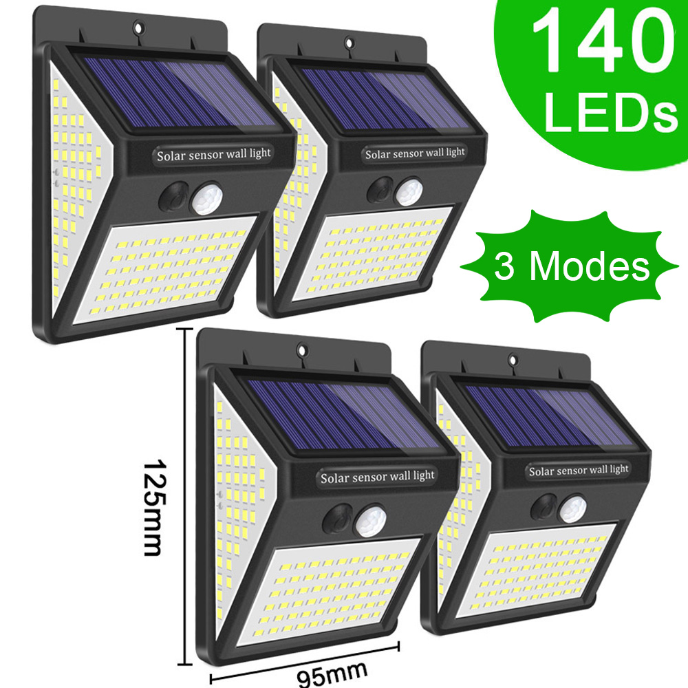 3 Mode 140 LED Garden Solar Security Lights Outdoor Motion Sensor Solar Powered Energy Lamp For Wall Fence Decoration Waterproof