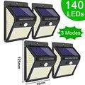 3 режима Водонепроницаемый 140 светодиодный лампа на солнечной батарее с датчиком движения Открытый Уличный для декора сада солнечного свет...