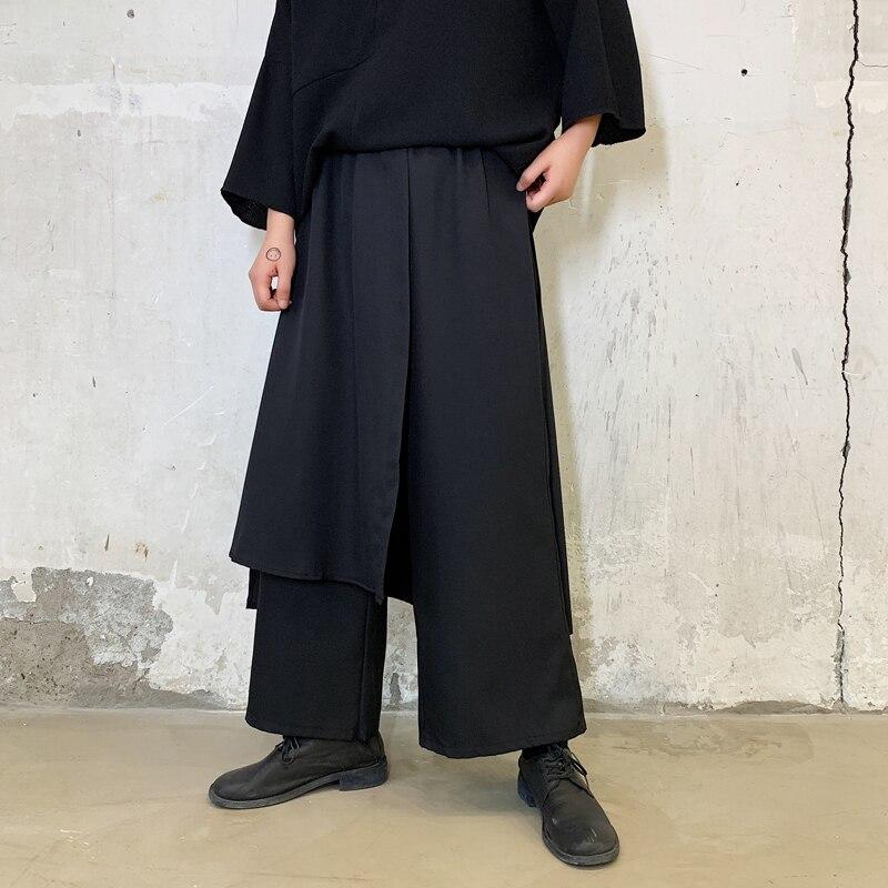 Men Elastic Waist Splice Loose Casual Wide Leg Pants Skirt Male Japan Kimono Streetwear Hip Hop Punk Gothic Harem Trousers