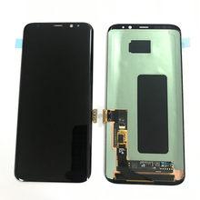 Original s8 lcd para samsung galaxy s8 display com quadro s8 g950fd s8 g950f lcd queimar na sombra tela do painel de toque montagem