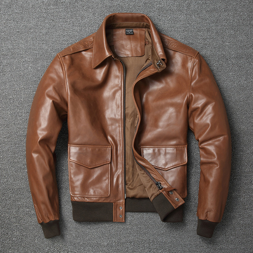 Free shipping Warm Mens classic genuine leather Jacket quality men s vintage flight jackets Eur Plus Free shipping.Warm Mens classic genuine leather Jacket,quality men's vintage flight jackets.Eur Plus size Casual A2 coat.sales