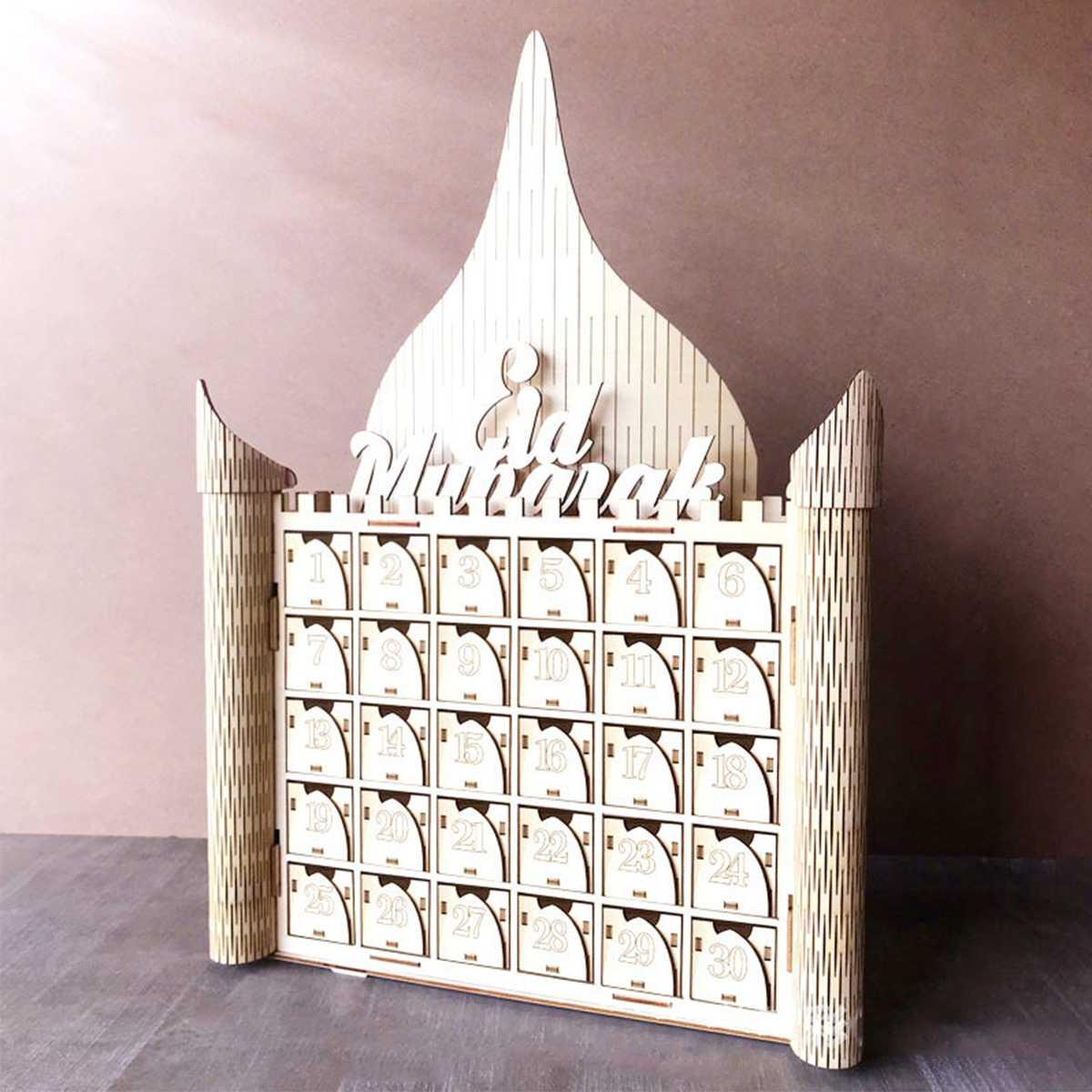 Wooden MDF Drawer EID Mubarak Ramadan Advent Calendar 30 Day Countdown Muslim Islamic Castle Drawer Decorations Ornament Gift