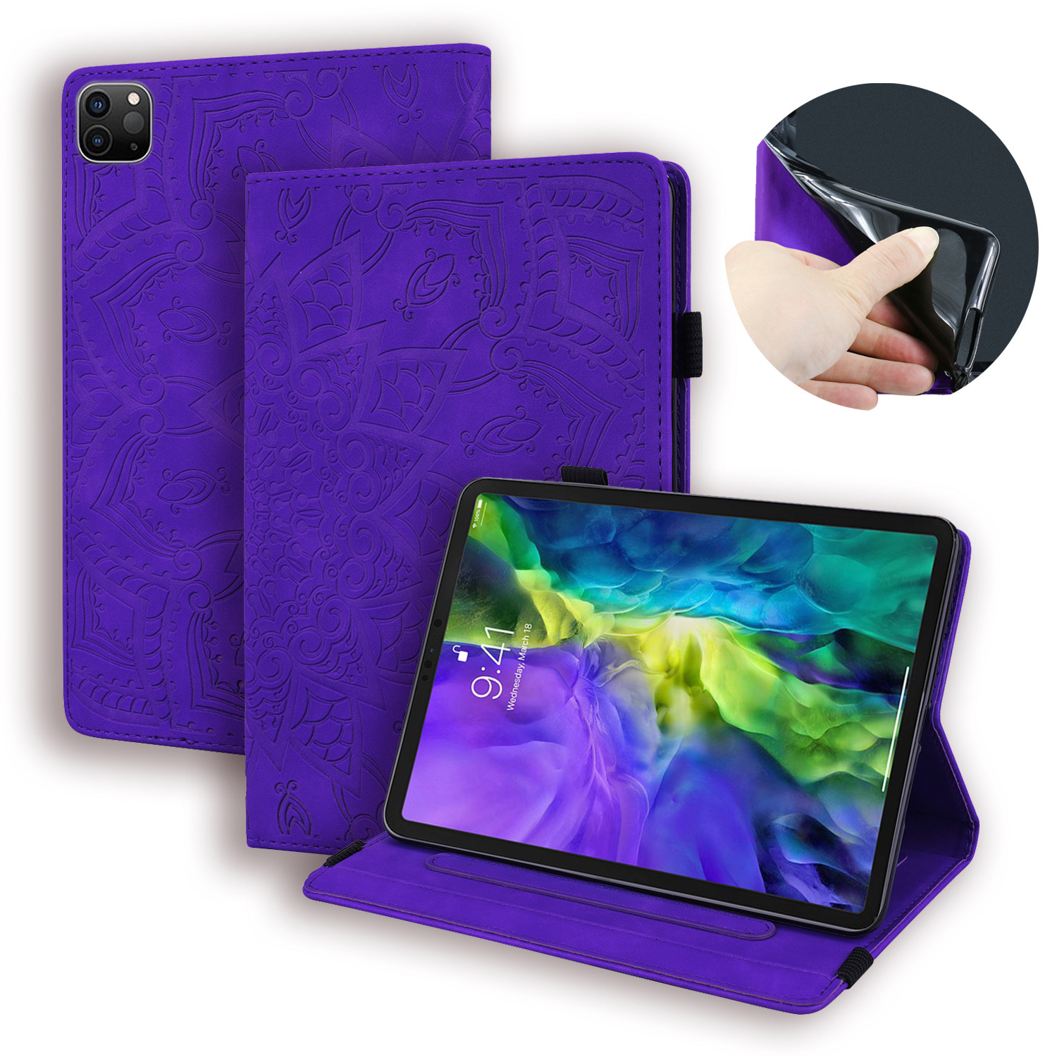 Purple Khaki For Apple iPad Pro 12 9 Case 2020 PU Leather Folding Stand Embossed Smart Case for