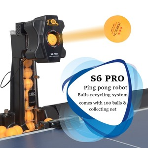 Robot de Ping Pong S6 PRO, Colección automática de pelotas, Robot profesional de tenis de mesa con red de recogida y 100 bolas