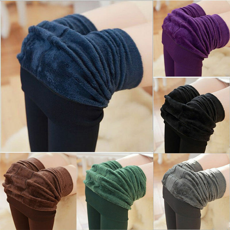 2020 New Women Winter Thermal Thick Warm Fleece Lined Stretch Pants Slim Leggings