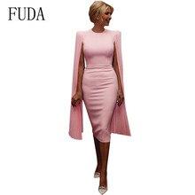 FUDA New Arrival Women Bandage Vestidos Elegant Mesh Long Sleeve Sexy Dress Femme Bodycon Club Dresses Celebrity Party