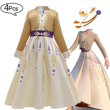 2 Anna Elsa Dress Girls Kids Dresses For Girls Costume Elegant Princess Dress Easter Carnival Cosplay Party Children Clothing