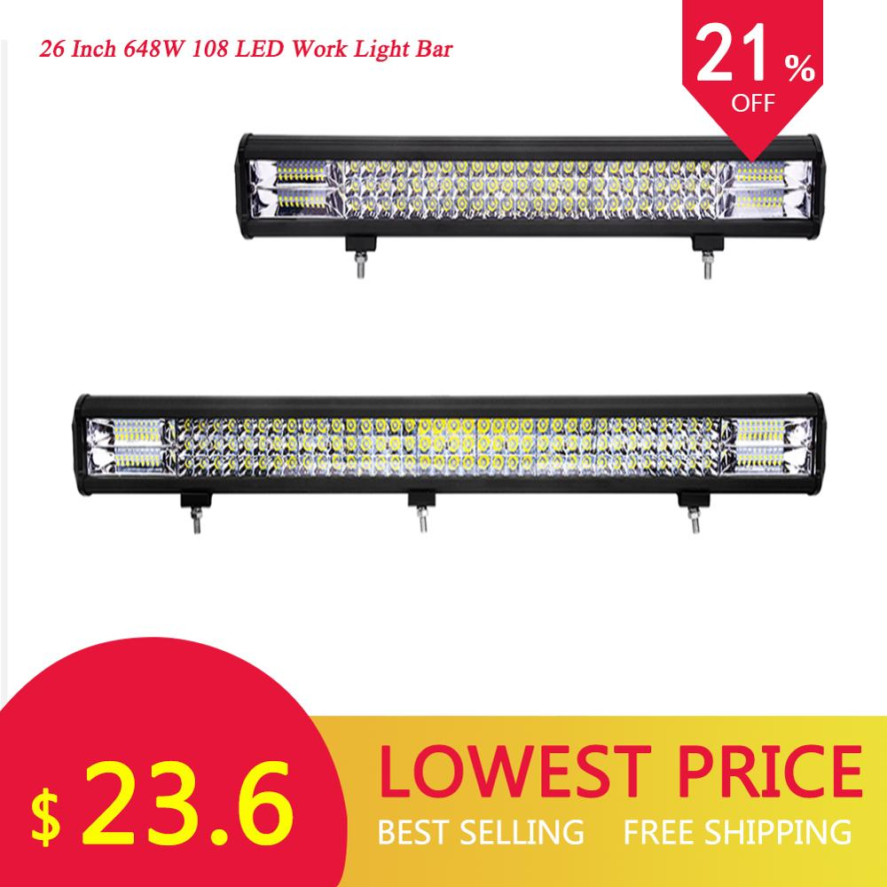 GERUITE 26 Inch 648W 108 LED Work Light Bar 6D Flood Spot Road Led Light Bar Car Front Bumper Spotlight Lights For SUV