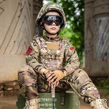 Kids Adult Military Tactical Training Uniform Set Children Jungle Camouflage Top Pants Men Special Forces Combat Outdoor Costume