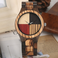 2019 New Arrival 4 Splice Color Dial Solid Wood Watches Male Folding Clasp Quartz Wooden Bangle reloj masculi