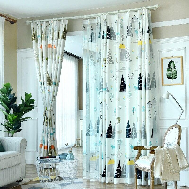 Треугольное дерево, Детские затемненные шторы для спальни, гостиной, Jinya, домашний декор, Nodric, геометрические, синие, зеленые, Кухонные панели|Занавеска| | - AliExpress
