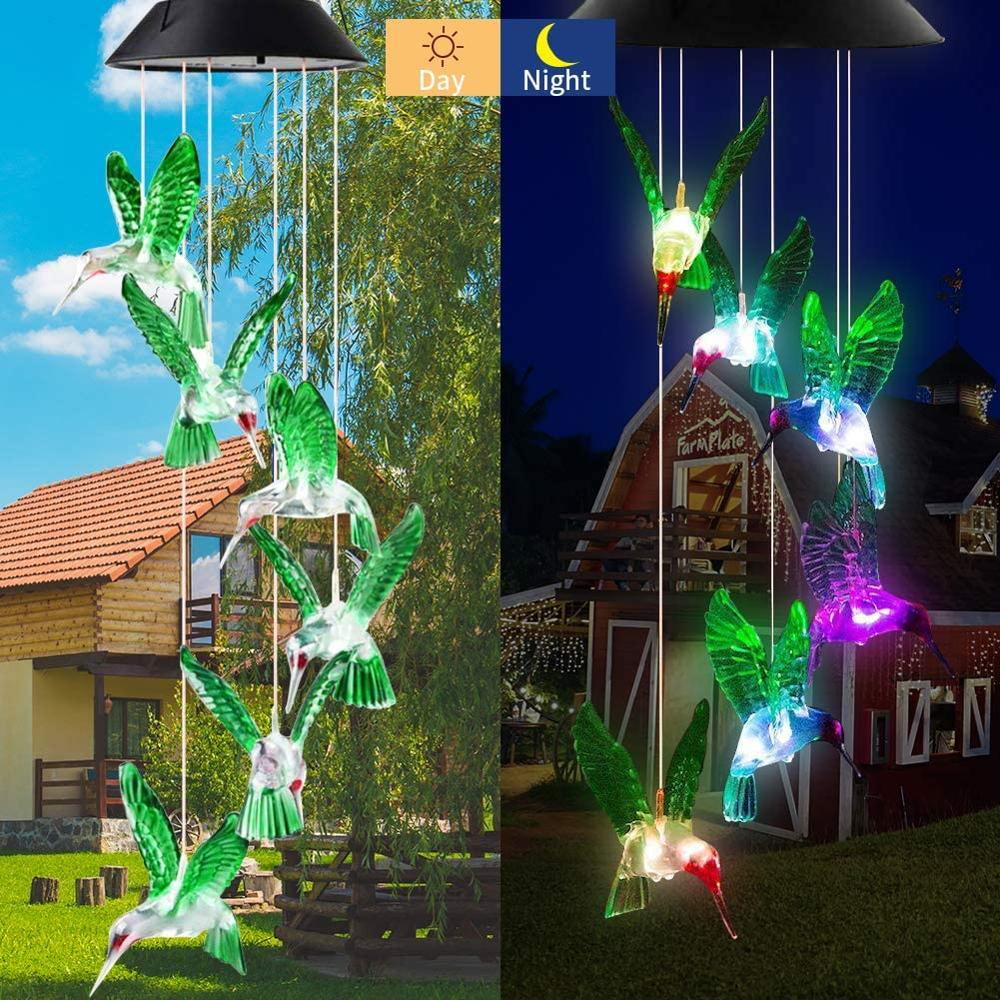 LED Wind chime Solar Powered Butterfly  Lights Color Changing Led Waterproof Christmas Outdoor Garden Holiday Decoration Lights