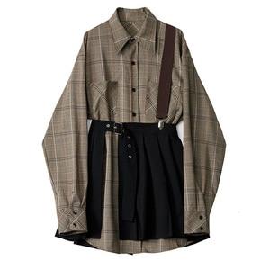 Image 2 - [Eam] feminino xadrez plissado dividir duas peças camisa vestido nova lapela manga longa solto ajuste moda maré primavera outono 2020 1d7110