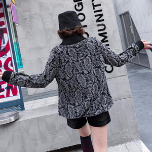 Image 2 - 最大ルル 2019 ファッション韓国の冬服トップス Tシャツ女性プリントニット Tシャツカジュアルタートルネック暖かい服