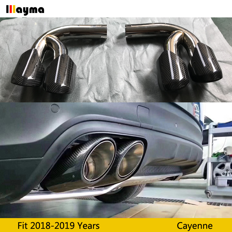 carbon fiber tail exhaust tips muffler pipe for porsche new cayenne 2018 2019 year cayenne s gts stainless steel mufflers 1 pair