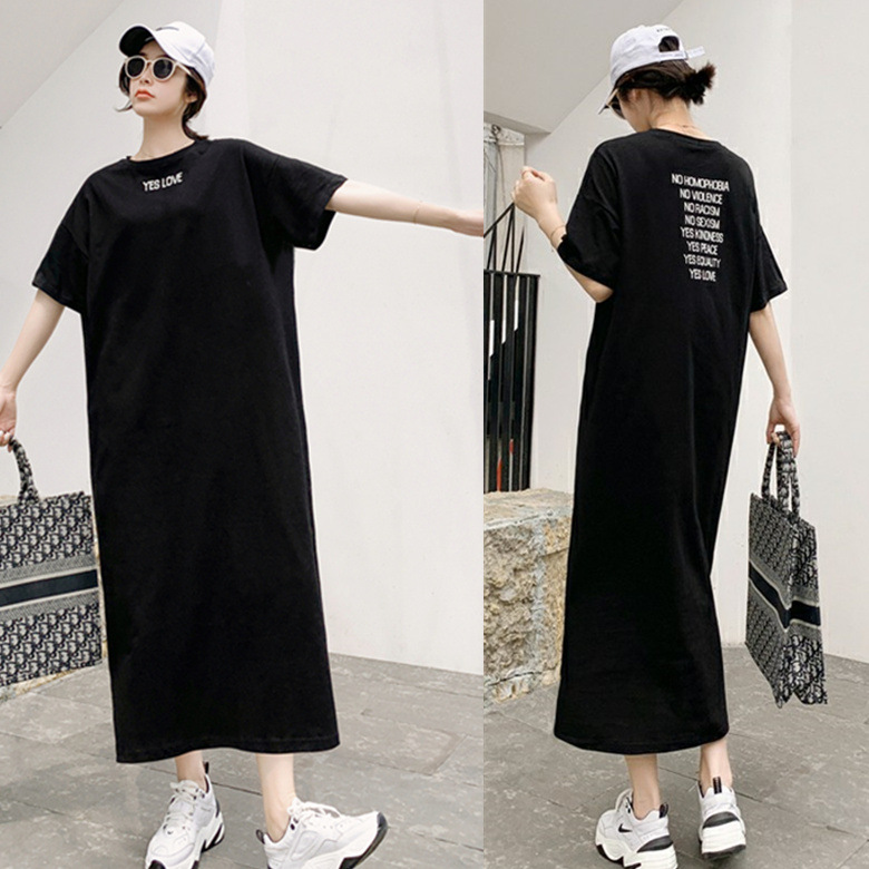 Summer Short-sleeved Nightgown Women's Black And White With Pattern Small Yes Lettered Skirt M-XXL 4 Color