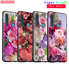 Black Silicone Cover Peony Rose Flower Ball for Samsung Galaxy A8S A9 A7 2018 A8 A6 Plus A5 A3 Star 2018 2017 Phone Case silicone phone case army camo camouflage for samsung galaxy a8s a6s a9 a8 star a7 a6 a5 a3 plus 2018 2017 2016 cover
