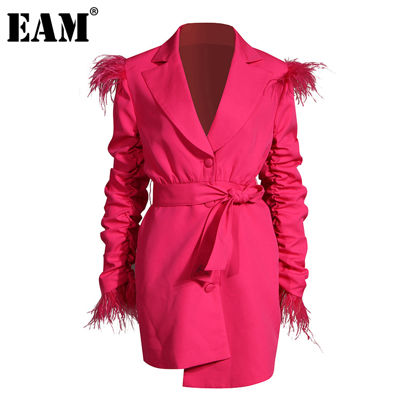 [EAM] Women Pleated Feather Irregular Temperament Dress New Notched Long Sleeve Loose Fit Fashion Tide Spring Autumn 2020 1DA242