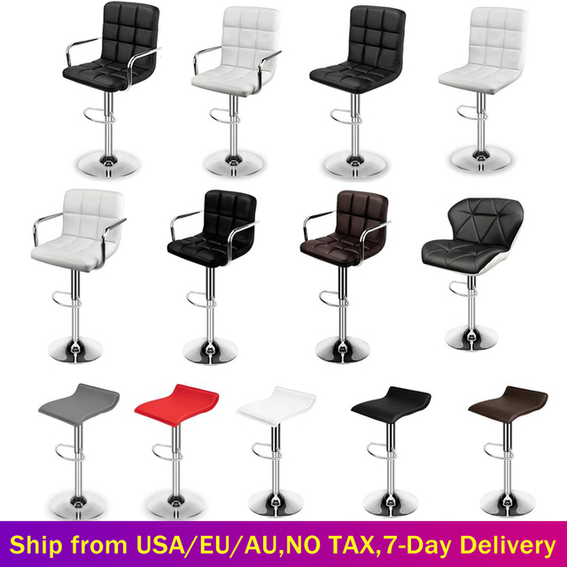 Set of 2 Modern Bar Chairs Dining Room Chairs Adjustable Swivel Bar Stools Kitchen Counter Dining Chairs for Home Office Salon 1