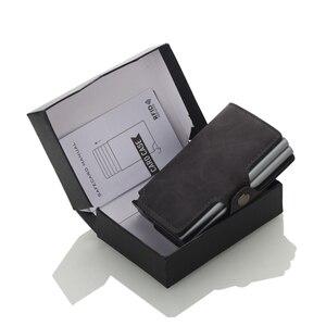 Image 5 - Casekey мужской кошелек с защитой от кражи, двойной алюминиевый кожаный держатель для кредитных карт, металлический rfid кошелек, автоматический всплывающий кошелек, держатель для ID карт