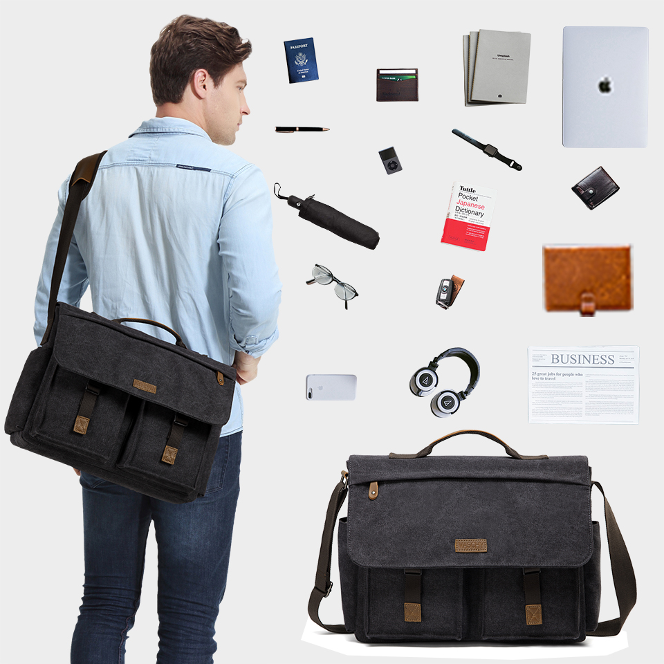 He74ea796496e4914ace45f1f2bbf93e5b VASCHY Messenger Bag for Men Vintage Water Resistant Waxed Canvas 15.6 inch Laptop Briefcase Padded Shoulder Bag for Men Women