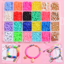 18 Colors Polymer Clay Loose Beads Chip Disk Loose Spacer Mixed Flat Round Clay Beads Jewelry Accessories DIY Jewelry Making Kit