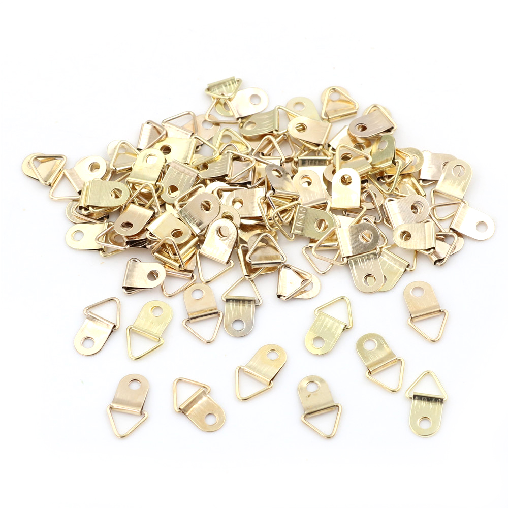100pcs/lot Easy To Hang Picture Oil Painting Mirror Golden D-Ring Hanging Frame Hooks Hangers