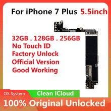 Placa mãe original para iphone 7 plus 5.5 polegada fábrica desbloquear mainboard com/sem toque id com chips ios placa lógica