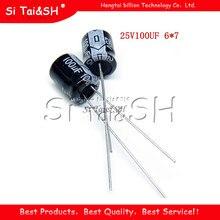 50 PIÈCES Haute qualité 25V100UF 6*7mm 100UF 6.3*7 25V condensateur Électrolytique
