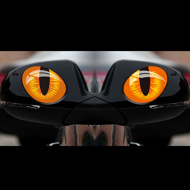 2pcs 12*10cm Cute Simulation Cat Eyes Car <font><b>Stickers</b></font> 3D Vinyl Decal for Rearview Mirror Car Head Engine Cover <font><b>Windows</b></font> Decoration image