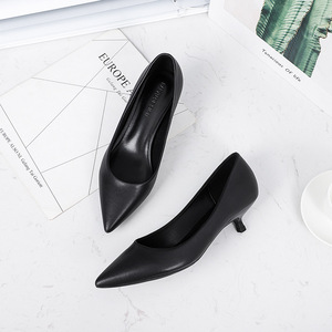 Image 2 - Office Lady Career Dress Solid Black Thin High Heels Shoes Woman Soft Slip On Elegant Classics Pointed Toe Pumps Heels Sandals