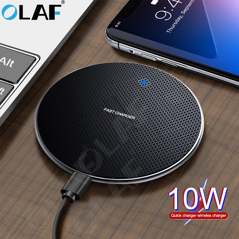 OLAF 10W Qi Wireless Charger For IPhone 11 Pro Max Fast USB Charger Fast Charging Pad For Samsung S10 S9 Xiaomi Wireless Charger
