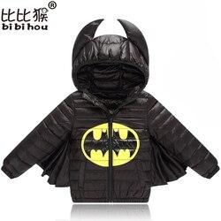 Куртка для маленьких мальчиков и девочек; сезон осень-зима; теплое пуховое пальто; куртка; одежда Бэтмена; Рождественская Детская одежда; од...