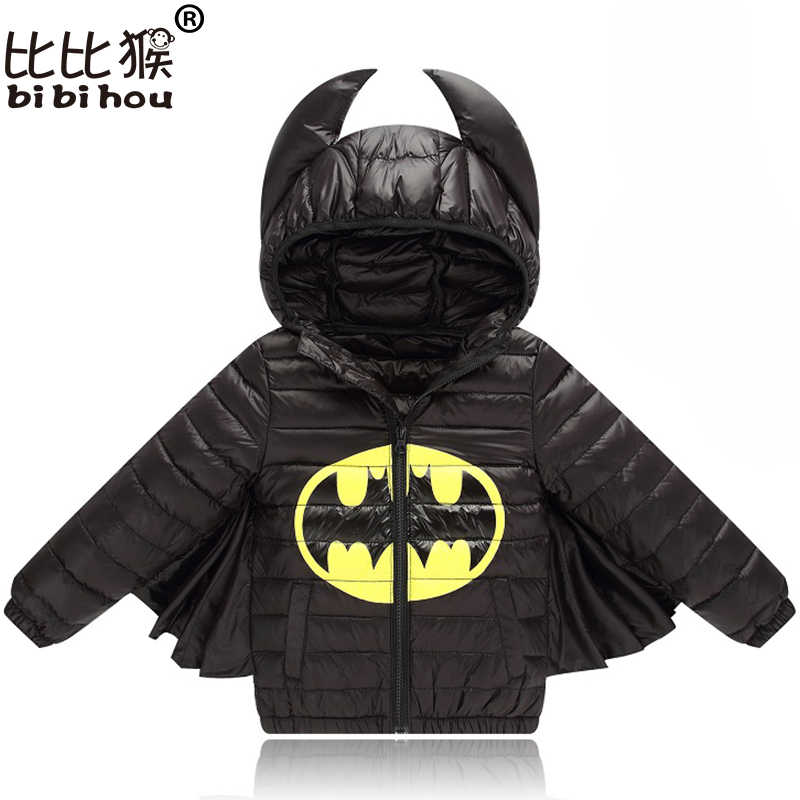 طفل الفتيان الفتيات سترة الخريف الشتاء الدافئة أسفل معطف سترة باتمان ملابس خارجية عيد الميلاد الأطفال الاطفال الملابس هالوين الملابس