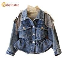 Новинка года, детская джинсовая куртка для девочек, пальто с милым единорогом джинсовая куртка для детей, одежда для девочек джинсовые куртки для малышей и детей постарше