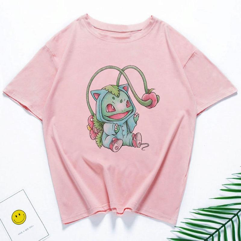 Cartoon T Shirt Women Summer Print Tshirt Harajuku Japanese Kawaii Pokemon Tops Streetwear O-neck Casual Female T-shirt 1