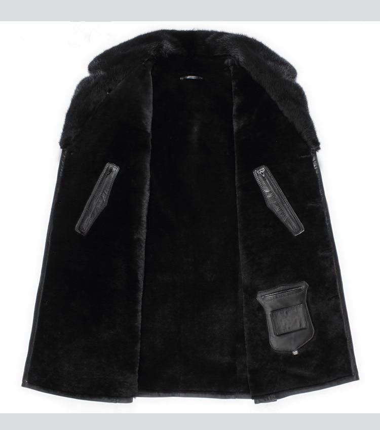 Genuine Leather Jacket Winter Jacket Men Real Wool Fur Liner Jackets Mink Fur Collar Sheepskin Coat AS-PM14070 MY1280