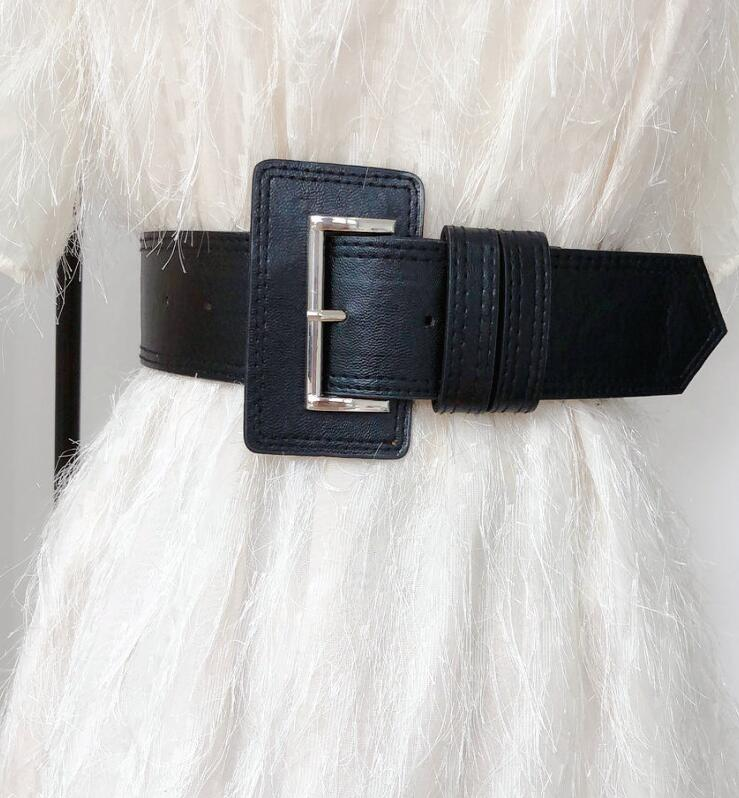 Women's Runway Fashion PU Leather Cummerbunds Female Dress Coat Corsets Waistband Belts Decoration Wide Belt R1739