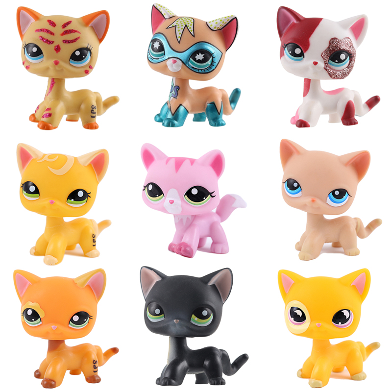 Rare Pet Shop Lps Toys Standing Little Short Hair Cat Pink Grey Black Old Original Pet Toys Kitten Free Shipping