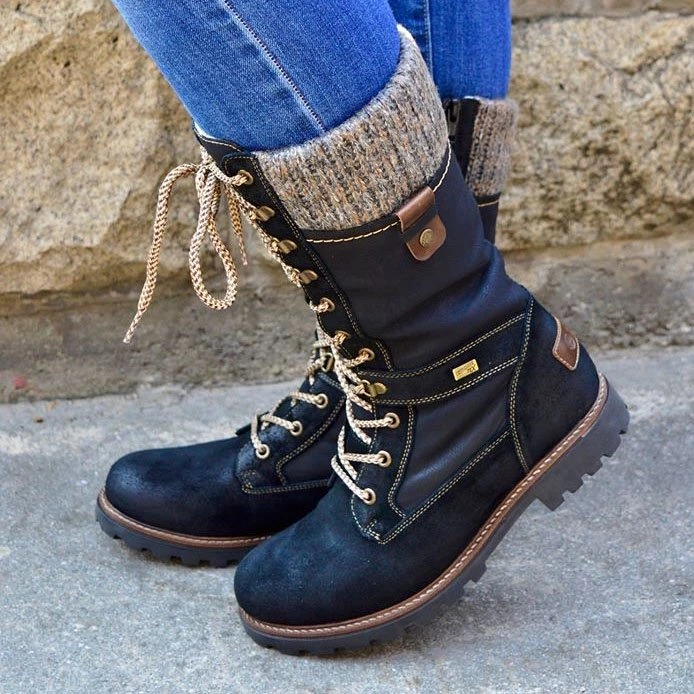 HEFLASHOR Basic Women Mid-Calf Boots Round Toe Zip Platform Decor Female Shoes Fur Plush Insole Winter Boots Women Plus Size