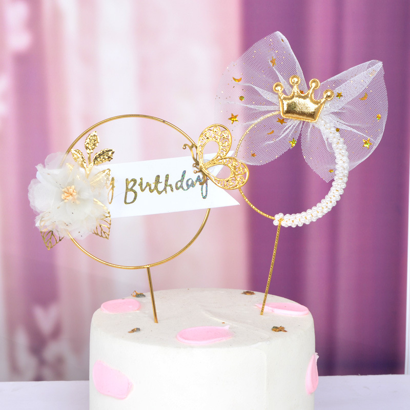 Happy Birthday Iron Art Cake Topper Creative Pearl Feather Butterfly Design Birthday Party Wedding Baking Cake Decor Supplies