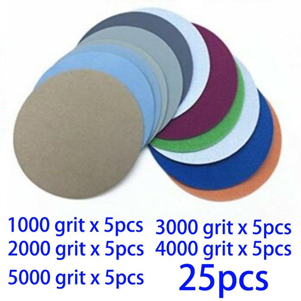 25pcs Wet/Dry 2-Inch 1000 2000 3000 4000 5000Grit Sand Paper Sanding Discs Long Service Life Abrasive Tools