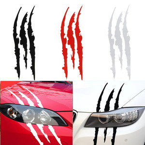 40cm*12cm Car Reflective Monster Sticker Black/White/Red Scratch Stripe Claw Marks Car Auto Headlight Vinyl Decal Car Sticker(China)