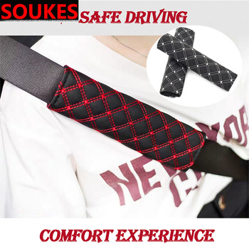 2pcs Leather Car Seat Safety Belt Stroller Backpack Straps Shoulder Pad Covers For Mercedes Benz W211 W203 W204 W210 W205 W212 W220 AMG Class C A E G S GLA GLC GLK GLS Maybach Jaguar XE XF XJ Accessories image